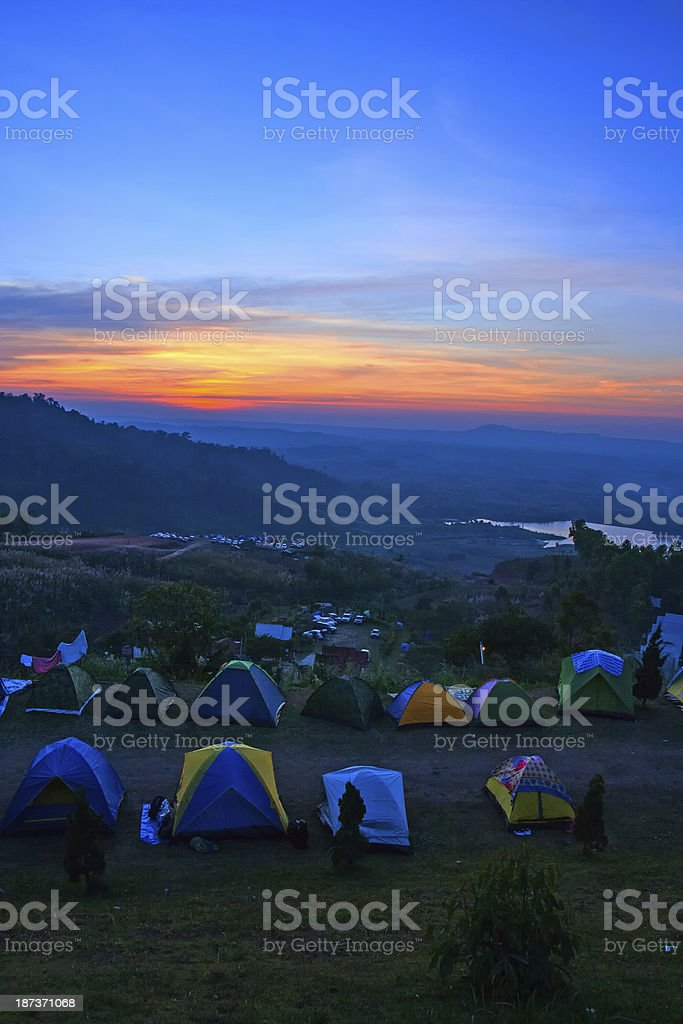 Camping with sunset behind mountain. royalty-free stock photo