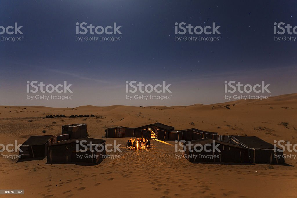 Campire in the Desert of Sahara stock photo