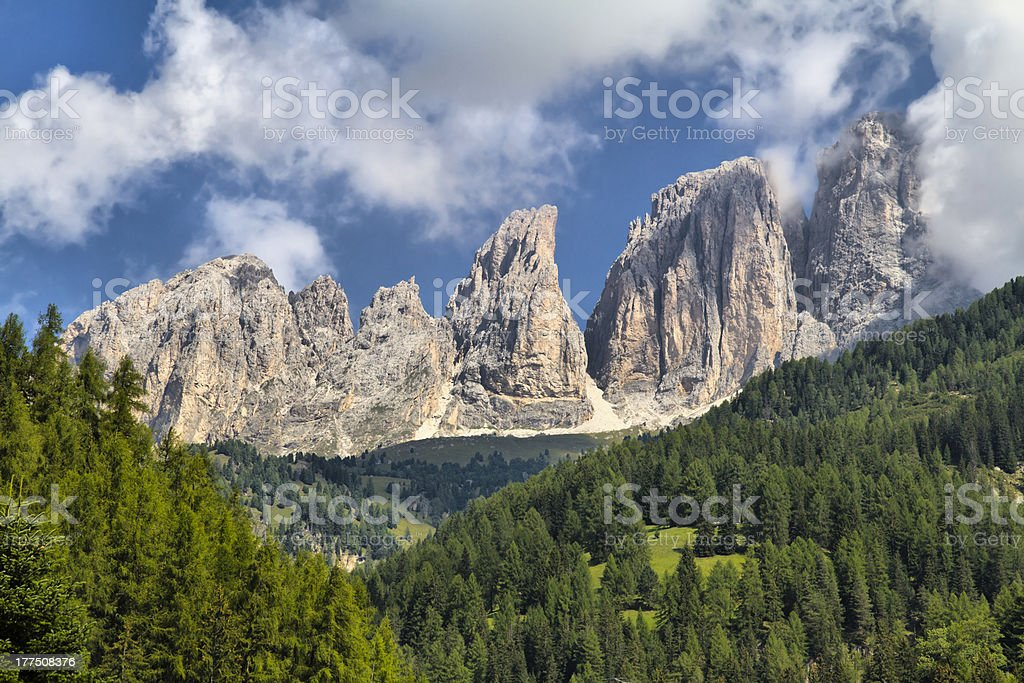 Campitello di Fassa (Dolomites)  Panoramic view of Langkofel and Plattkofel stock photo
