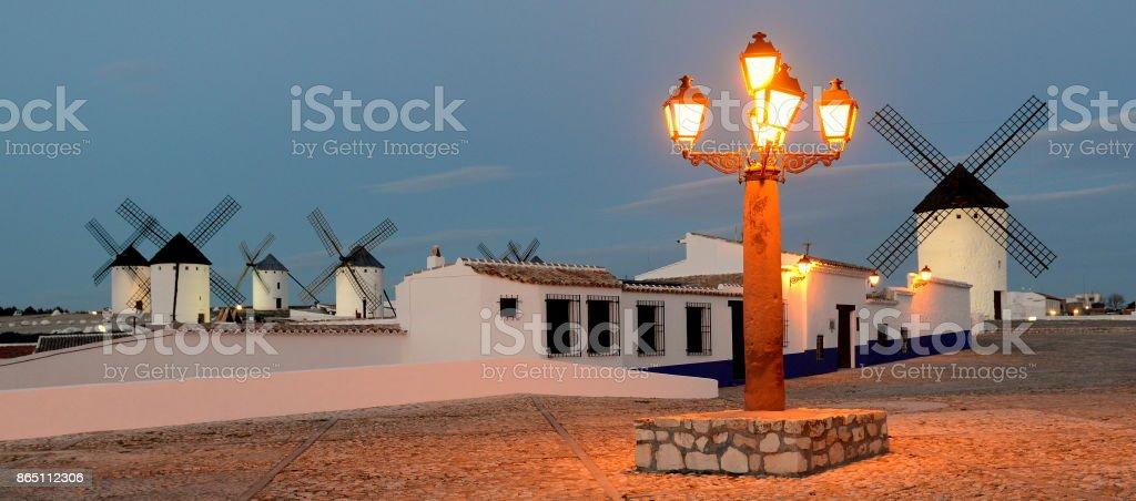 Campo de Criptana lightpost at dusk stock photo