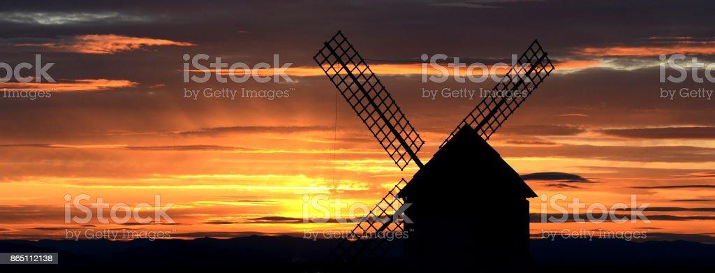 Campo de Criptana sunset stock photo