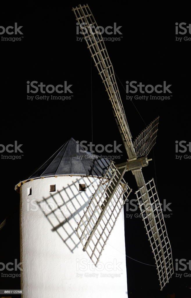 Campo de Criptana windmill at night stock photo