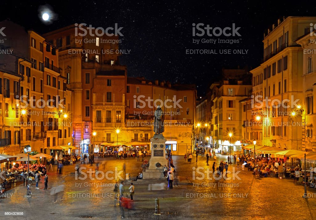 Campo dei Fiori at night with the monument to philosopher Giordano Brvno stock photo