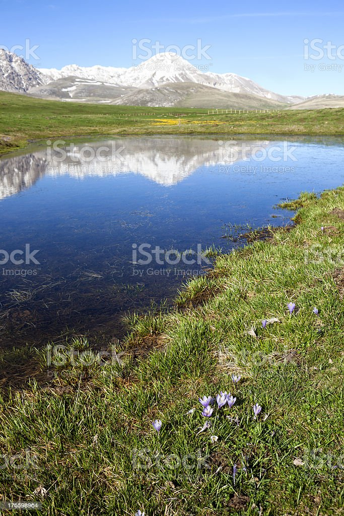 Campo Imperatore field and pond in April, Abruzzi Italy royalty-free stock photo