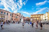 Venice, Italy - August 13, 2017: Campo Santo Stefano in Venice