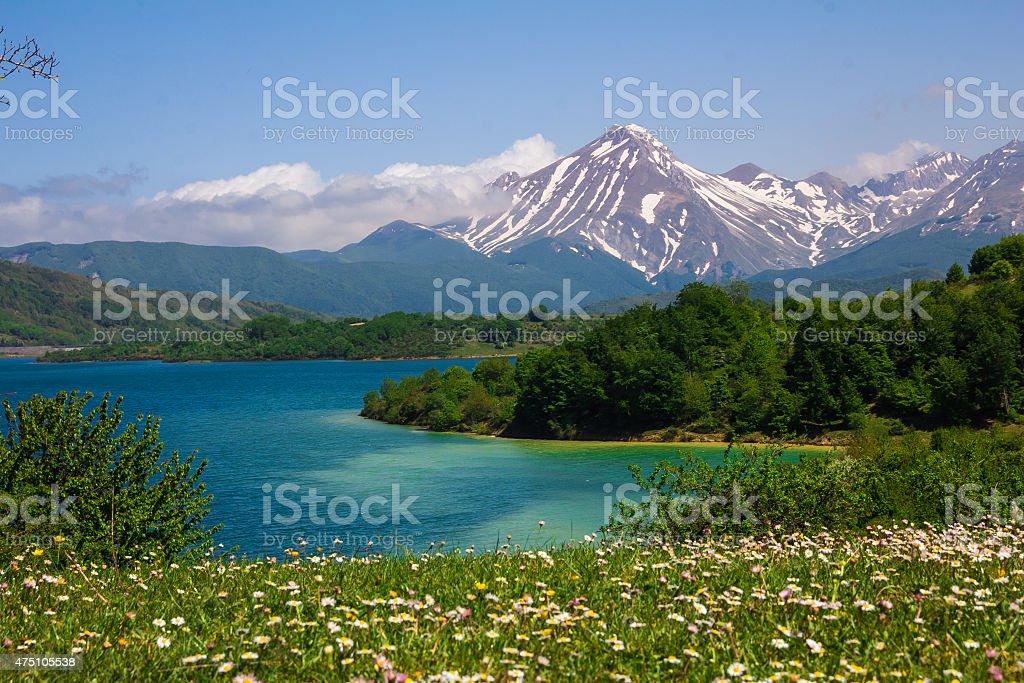 Campotosto lake in Abruzzo stock photo
