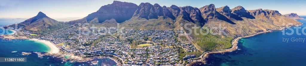 Camps Bay Aerial Panorama Cape Town South Africa stock photo