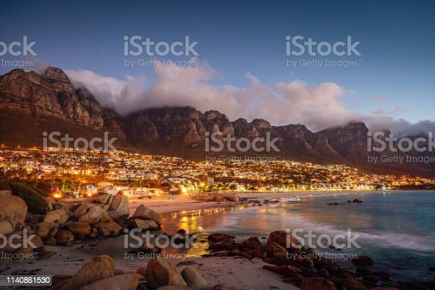 Camps Bay Atmospheric Twilight Cape Town South Africa Stock Photo - Download Image Now