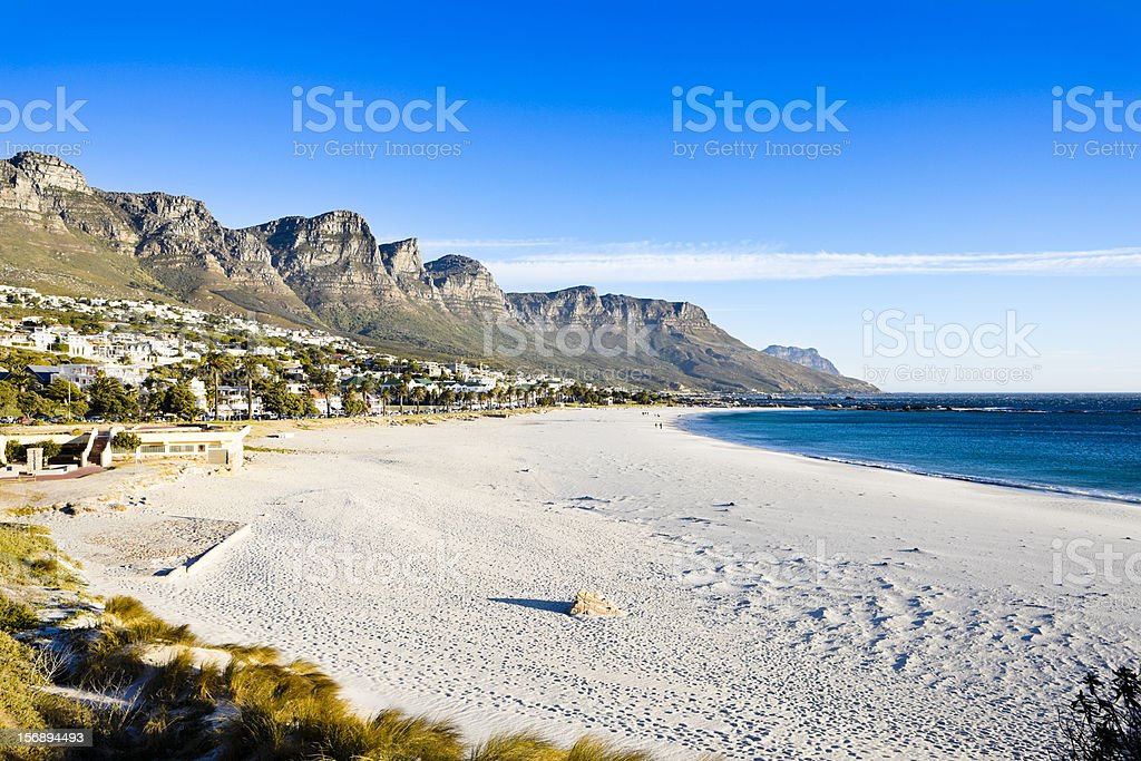 Camps Bay beach, Cape Town, with Twelve Apostles in background stock photo