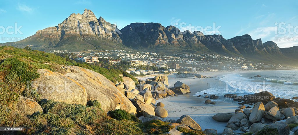 Camps Bay Beach in Cape Town, South Africa stock photo
