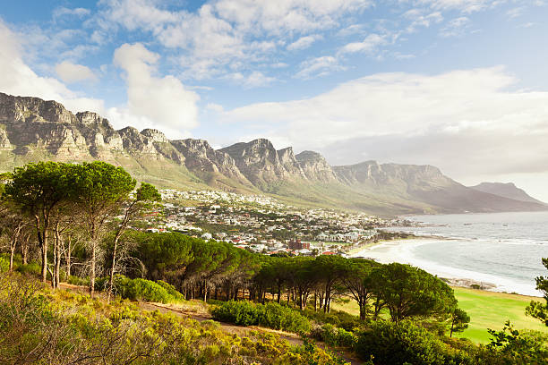 camps bay cape town suburb south africa - table mountain south africa stock pictures, royalty-free photos & images
