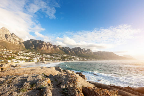 camps bay cape town table mountain south africa - cape peninsula stock pictures, royalty-free photos & images