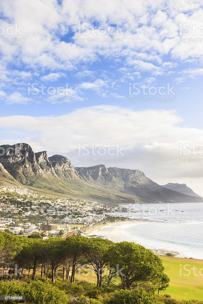 Camps Bay Coast underneath Table Mountain Cape Town South Africa stock photo