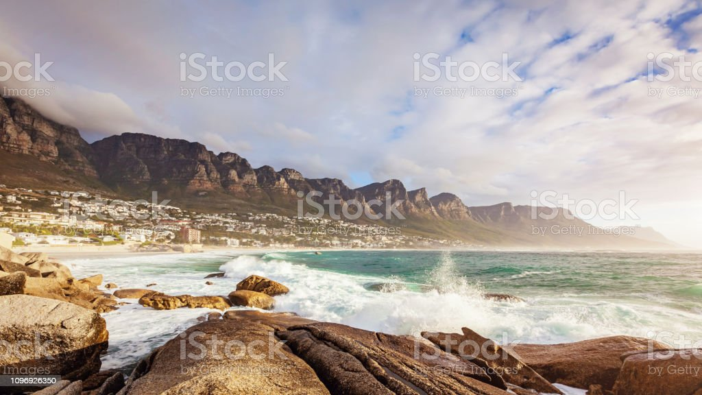Camps Bay Panorama Cape Town Table Mountain South Africa stock photo