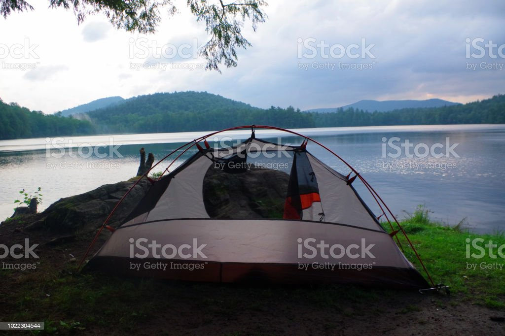 Campsite And Tent On A Lake In The Adirondack Mountains Stock Photo & More  Pictures of Adirondack Forest Preserve