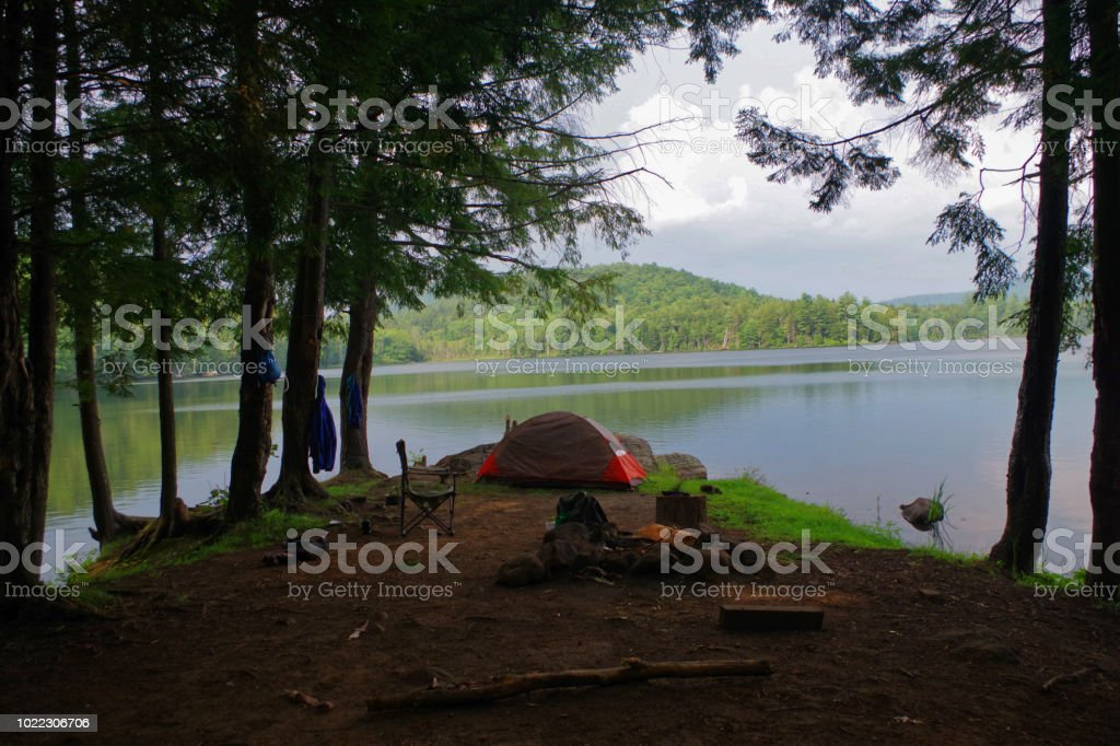 Campsite And Tent On A Lake In The Adirondack Mountains