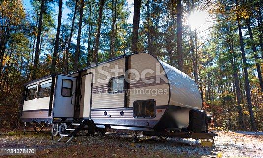 istock RV campsite at Jordan Lake North Carolina in late fall 1284378470