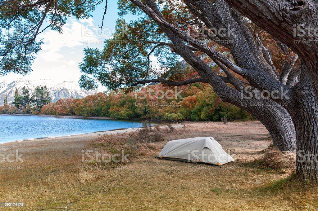 Campsite at Lake Pearson Wildlife Refuge, New Zealand stock photo