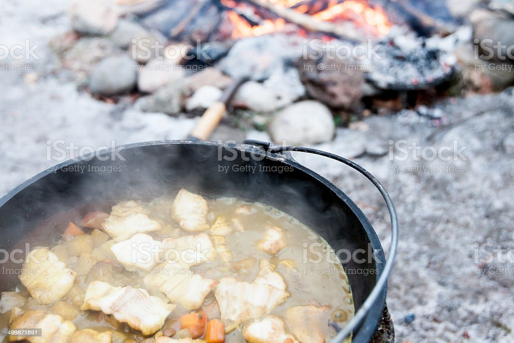 Campsite Cooking stock photo