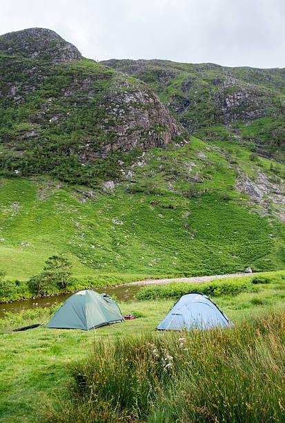 Campsite in Glen Etive stock photo