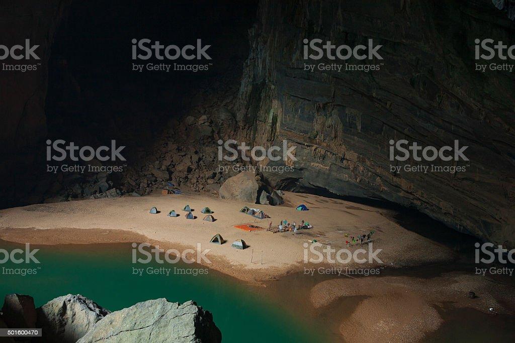 Campsite in the Hang En cave stock photo