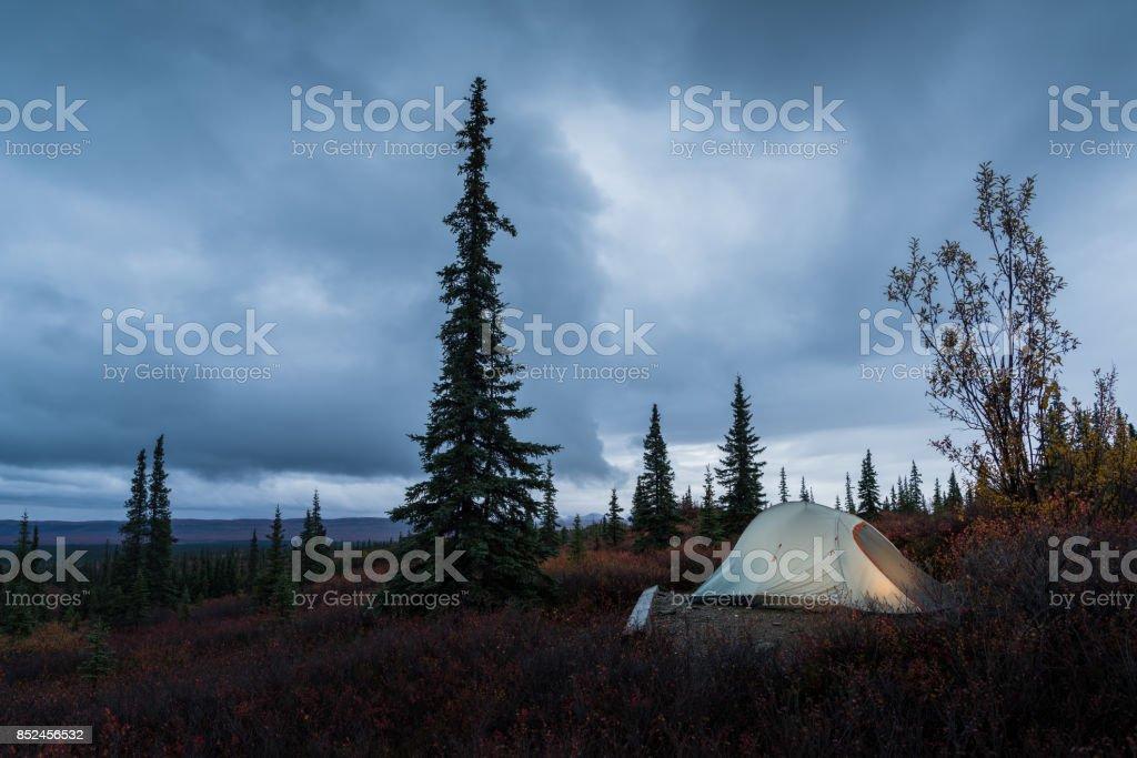 Campsite near Denali mountain stock photo
