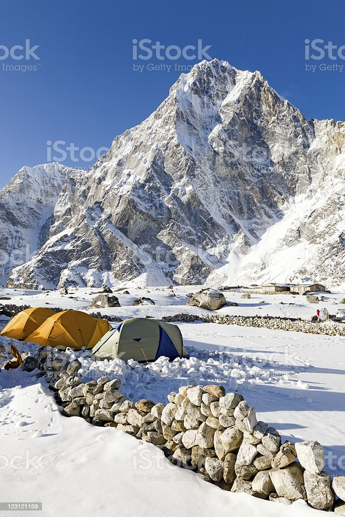 Campsite over looked by Arakam Tse stock photo
