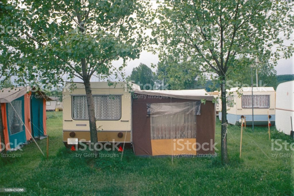 Campsite Bavaria, Germany, 1976. Camping place. 1970-1979 Stock Photo
