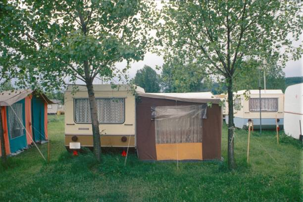 Campsite Bavaria, Germany, 1976. Camping place. caravan photos stock pictures, royalty-free photos & images