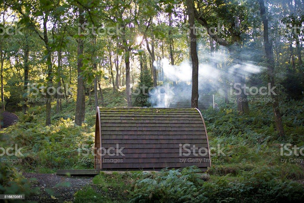 Campsite Pod en el lago distrito - foto de stock