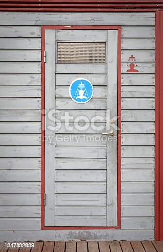 istock Campsite shower cabin on a campsite in Iceland 1347832839