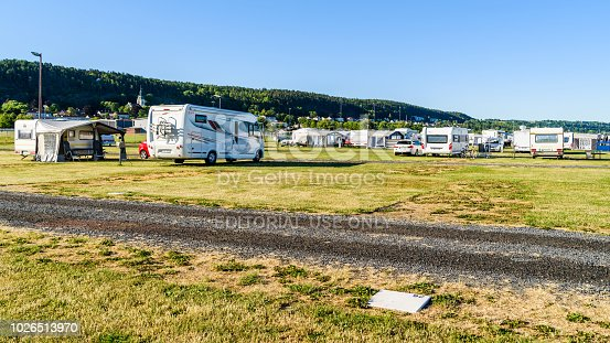 Granna, Sweden – July 2, 2018: Camping cite in the village with motorhomes and caravans on an ordinary summer morning.