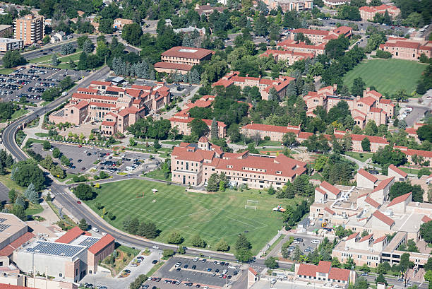 CU Campus Aerial; Boulder, Colorado stock photo