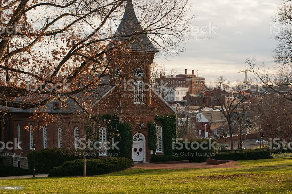 Campus Chapel with clock stock photo