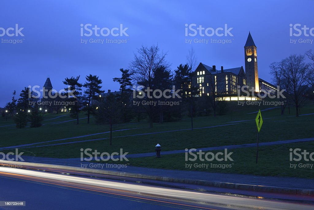 Campus of Cornell University at Night stock photo