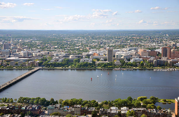 MIT campus on Charles River bank, Boston stock photo