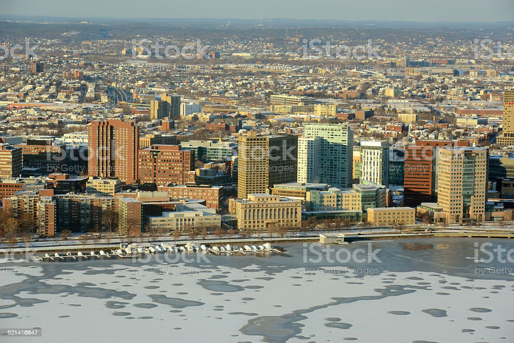 MIT campus on Charles River bank, Boston stock photo