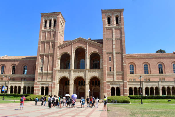 UCLA Campus Los Angeles, California - July 23, 2017: Campus tour of Royce Hall on the campus of The University of California, Los Angeles (UCLA). westwood neighborhood los angeles stock pictures, royalty-free photos & images