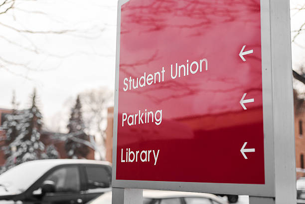 campus sign giving directions to various places stock photo