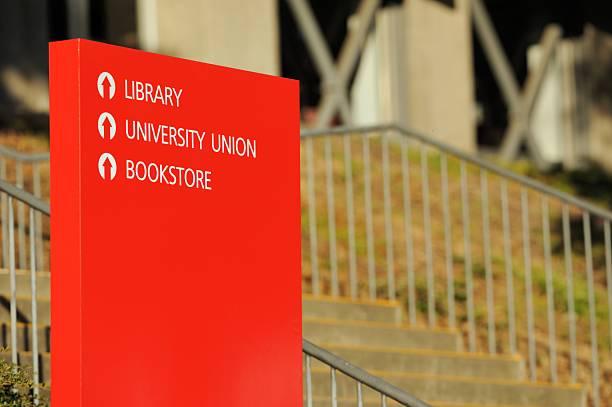 campus-schild - bibliothekschilder stock-fotos und bilder