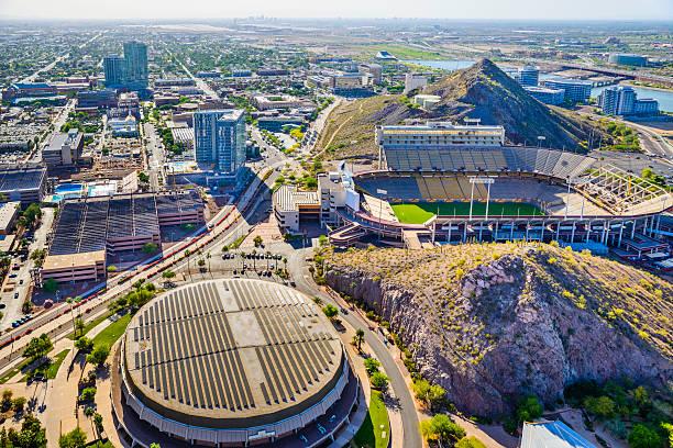 ASU campus Tempe AZ Sun Devil Football Stadium aerial view stock photo