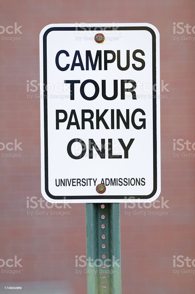 Campus tour parking only sign stock photo