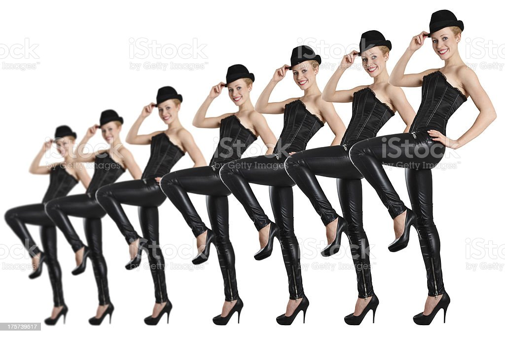 Can Can show dancers dressed in all black white background stock photo