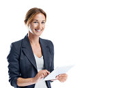Cropped shot of a smiling businesswoman using a digital tablet while isolated on white