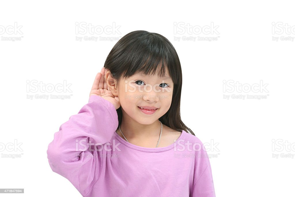 I can hear something. stock photo