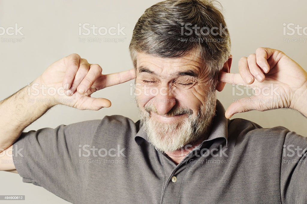 I can not hear you! stock photo