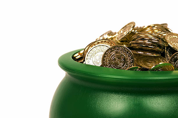 pot o' gold - luck of the irish stock photos and pictures