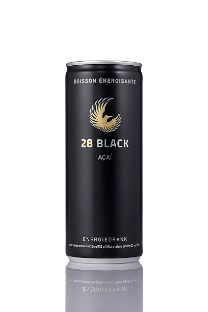 Can of 28 Black energy drink on a white background stock photo