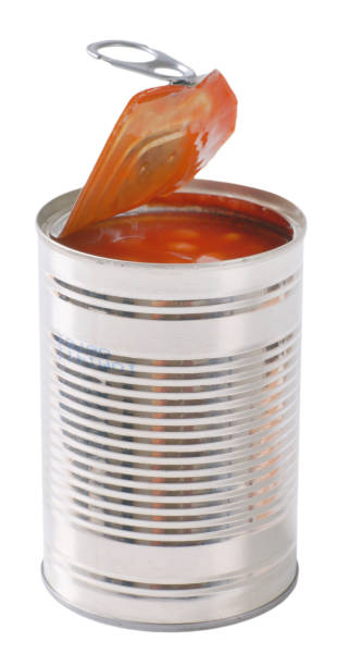 can of beans in tomato - tomato can stock photos and pictures
