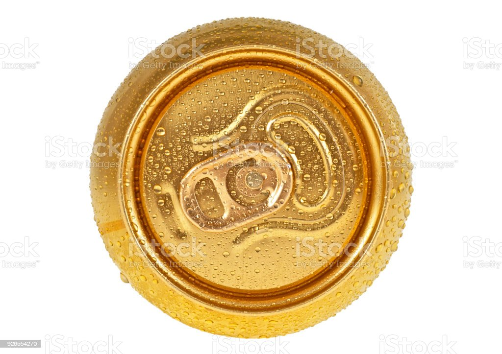 Can of beer in drops of water isolated on white background, top view stock photo